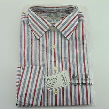 """NEW Men's Stephens Brothers Blue/Red Stripe Pure Cotton Shirt - Size 15""""/38cm"""