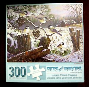 "NEW unopened Bits and Pieces 300 large pc. puzzle ""SAFE HAVEN"" birds in winter"