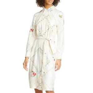 Tory Burch Afternoon Tea Handkerchief Printed Long Sleeve Shirt Silk Dress $598