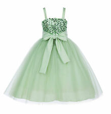Wedding Sequin Mesh Flower Girl Dress Toddler Reception Special Occasions B1508