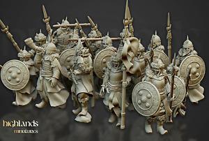 Female Spearmen x10: Empire, Medieval, Fantasy Resin Printed D&D miniatures