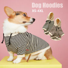 Pet Dog Cat French Bulldog Clothing T-Shirt Striped Puppy Hoodie Coat Clothes