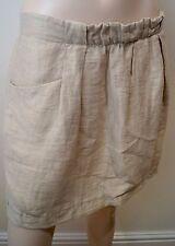 J CREW Beige Linen Blend Pleated Front Summer Short Mini Skirt Sz:4 UK8