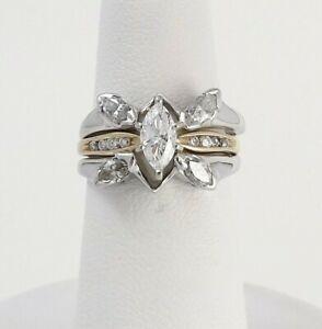 14k White Gold Marquise Diamond Engagement Ring Enhancer Insert Wedding Band