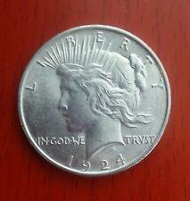 Authentic US  Peace Silver Dollar 1924-P . BRILLIANT White Nice.