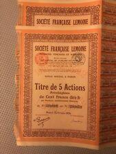 French Stock Paper Certificate Company Société Française Lemoine 1926 Testing