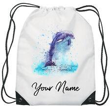 Personalised Dolphin Gym Bag PE Dance Sports School Swim Bag Waterproof