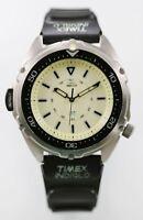 Timex Indiglo Watch Mens Stainless Silver Rubber Black 100m Light Beige Quartz