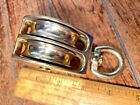 """VINTAGE POLISHED BRONZE/BRASS? DOUBLE PULLEY BLOCK W/ 2"""" SHEAVES 3/8"""" LINE"""