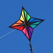 "Rainbow Kite Star Enif 33"" x 33"" RipStop Nylon + Line + 20-ft Fringe Tail + Case"
