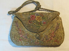 Antique ladies tapestry purse handbag with micro petit point