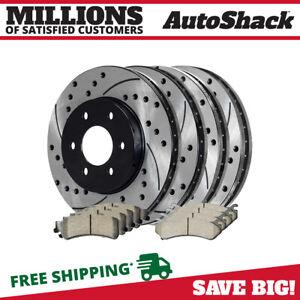 Fits:- Chevrolet GMC 2 Black Coated Cross-Drilled Disc Brake Rotors 8lug Rear Rotors Heavy Tough-Series