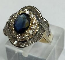 MAJESTICALLY DIAMOND & SAPPHIRE DINNER RING . Rare To Find