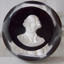 Baccarat France Sulphide Paperweight Franklin Mint Glass King Louis XVI Cameo