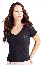 True Religion Women's Roll Up Sleeve Studded Horseshoe Logo Tee Black Small $79