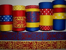 "22 YDS GROSGRAIN RIBBON MIXED LOT ""DAMASK"" PATTERN PRINTED"" REF D11"