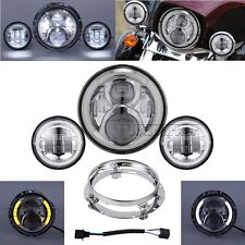 "7"" LED Headlight Passing Lights for Harley Fatboy Heritage Softail Deluxe FLST"