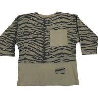 Vintage Men's Stuart Mann of California Camouflage Zebra Shirt Green • Large