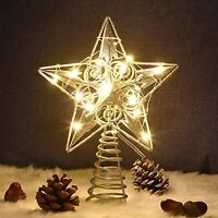Juegoal Star Tree Topper w/ 20 LED Lights~Silver Lighted Christmas Tree Decor