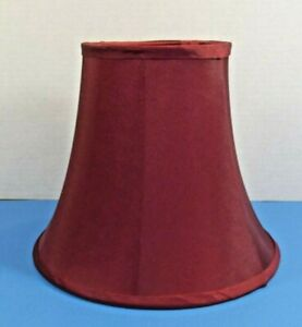 """Vintage Small Round Lamp Shade Burgundy Fabric Round Bell Shape 9""""w x 7.5:h"""
