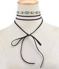 New Women Long Black Velvet Chain Choker Alloy Turquoise Statement Bib Necklace