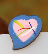Heart copper enamel blue pink colors  BROOCH