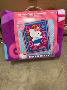 "HELLO KITTY NO SEW FLEECE BLANKET THROW KIT KIDS CRAFTS HOMEMADE 40""x 60"""