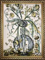 Margarita Bonke Malerei A3 PAINTING art Money Zeichnung Blumen flower Geld Magic