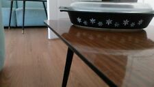 VINTAGE PYREX  DOUBLE SERVING DISH SNOWFLAKE DESIGN WITH LID BLACK & WHITE