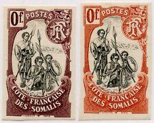 FRENCH SOMALI COAST COLOUR TRIALS 1902 WARRIORS IMPERFS 0f MAUVE + ROSE PROOFS