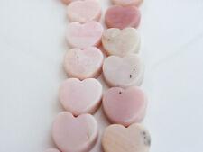2 x Pink Opal Heart Beads 15mm Vertical Drilled Semiprecious Stones Gemstones