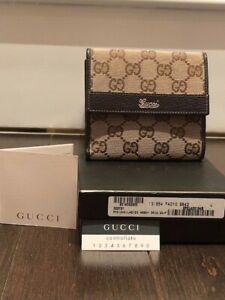 Gucci Abbey GG Beige Canvas/Brown Leather Monogram French Flap - New
