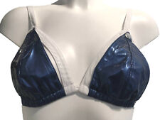 Blue & White PVC Peephole Drop Cups Bra Size Small Stretch back Peekaboo Ouvert