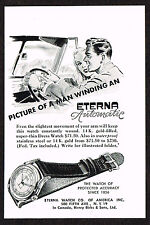 1940's Small Vintage 1948 Eterna Automatic Watch Art Paper Print AD