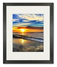 12X16 Coastal Black Wood Picture Frame with Single White Mat for 9X12