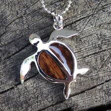 Hawaiian Jewelry Koa Wood Honu Sea Turtle Rhodium Plated Brass Pendant BRP1112