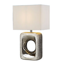 Searchlight Grange Silver Etched Base White Fabric Shade Desk Table Lamp Light