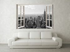 New York Grey 2 Scene 3D Full Colour Window Home Wall Art Stickers Mural Decal