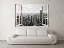 NEW YORK GRIGIO 2 scena 3d Full Color Finestra Casa Wall Art Decalcomania Murale Adesivi