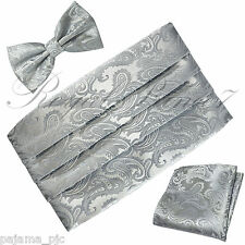 New Paisley Silver Gray Men's Cummerbund And Bow tie & Pocket Square Hanky Set