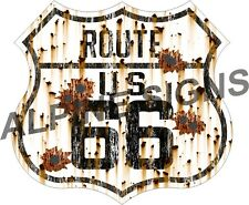 "Vintage Highway Route 66 Bullet Holes sticker decal 3.2""x3"""