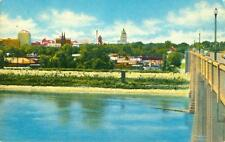 Skyline of Topeka from the Kansas River Bridge 1952 CHROME postcard