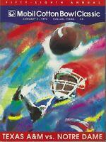 1994 COTTON BOWL PROGRAM  NOTRE DAME VS  TEXAS A&M, LOU HOLTZ