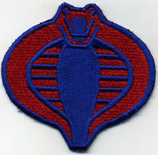 "GI Joe Cobra Commander Small Fully Embroidered Iron On 3"" Red & Blue Patch"