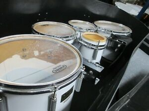 """Dynasty Marching Tenor/Quint Drums, White, 14"""", 12"""", 10"""", 8"""", 6"""" with Case!"""