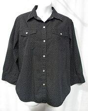 Chaps Size L Button Front 3/4 Sleeve Black White Polka Dot Shirt