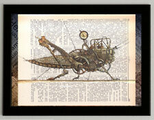 Grasshopper steampunk print on dictionary book page art poster reproduction