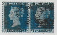 SG34/35(?)   2d.Blue LCp14 (Plate5/6)  Fine-V.Fine Used Pair. Cat.£140. Ref.0982