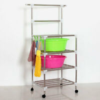 4 Tier Metal Kitchen Storage Trolley Washbasin Towel Storage Cart With Wheels