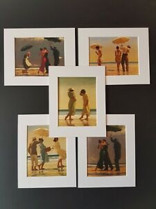 Jack Vettriano Beach Collection Set of 5 Mounted Prints 10x8 inch White Mounts